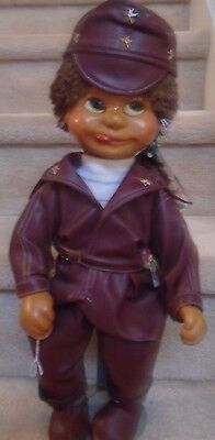 Harold Paul Naber Kids 18 inch Willi Wooden Doll Retired Maroon Pleather COA