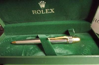 Rolex Silver & Gold Plated Pen Box & Card Stunning New
