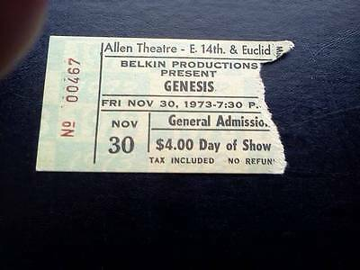Genesis ticket Allen Theatre Cleveland 30/11/73 Selling England tour