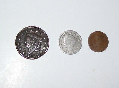 3 Old US Coins 2 Pennies 1 Nickel Fun Collectable