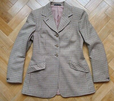 Vintage Harry Hall riding hacking jacket cream brown check UK 10, poss small 12
