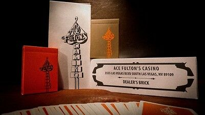 2 Deck Set Ace Fultons Orange & Brown Rare Limited Custom Playing Cards Casino
