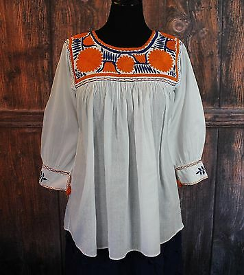 Navy Blue, Orange & White Hand Embroidered Blouse Mayan, Chiapas Mexican Hippie