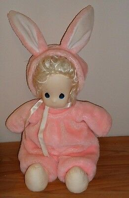 """Precious Moments Doll GIRL IN Pink BUNNY RABBIT Costume 16"""" soft body Easter"""