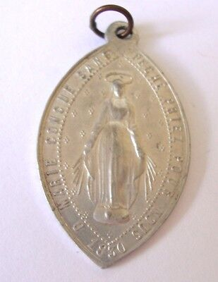 Vintage French Aluminium Miraculous Medal Virgin Mary cw