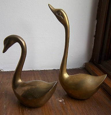 Two Brass Swans