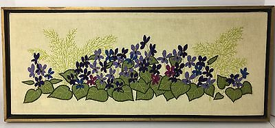 Vintage Finished Crewel Embroidery Purple Floral Flowers Completed Framed Green