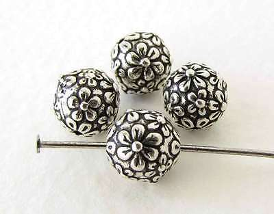 TierraCast Flower Bead Antiqued Silver Ox Floral Metal Round Bali Finding 8mm