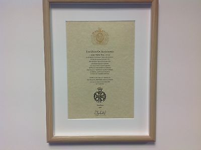 Royal Green Jackets  RGJ  Oath Of Allegiance With Cap Badge