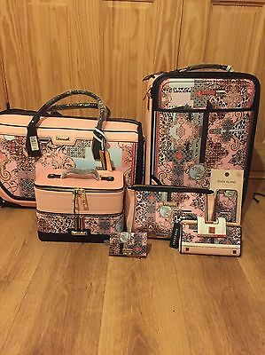 River Island Pink Scarf Print Suitcase 7 Piece Set Sold Out Limited Edition