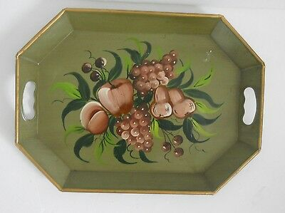 Tole Ware Metal Tray VINTAGE ANTIQUE GREEN HAND DECORATED PAINTED FRUIT DESIGN