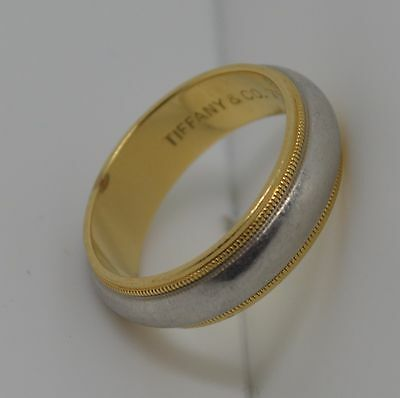Authentic Tiffany & Co 950 Platinum And 18K Gold Milgrain 6Mm Wedding Band Size8