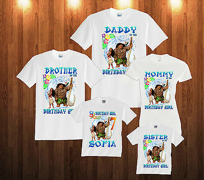 Moana Birthday shirt Custom personalized white T-shirt for kids and family