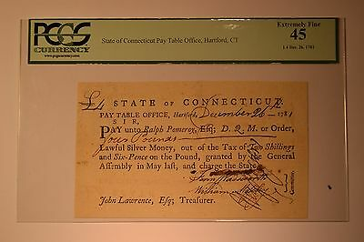 Connecticut Fiscal Paper Pay Table Office PCGS Extremely Fine 45.