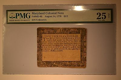 Maryland August 14, 1776 $2/3 PMG Very Fine 25 Net.  Previously Mounted