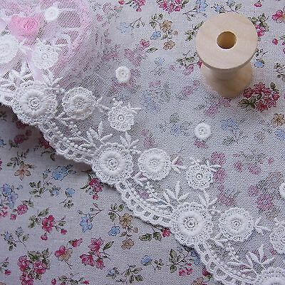 """Antique Style Floral Embroidery Tulle Lace Trim 8cm (3.2"""") Ivory Cream 3yds"""