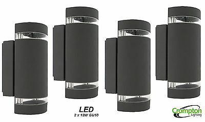 4 x Dark Grey Half Cylinder Up/Down Wall Light with Light Bands LED 2 x 12W GU10