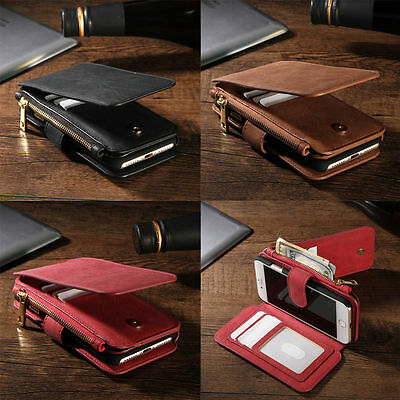 Luxury Genuine Leather Flip Wallet Phone Case Cover for iPhone Samsung Phones