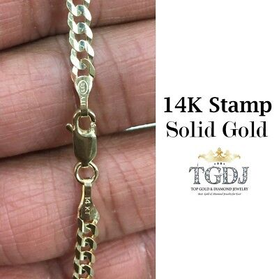 """14k Solid Yellow Gold Cuban Curb Link Necklace Chain 20"""" 3.6mm"""