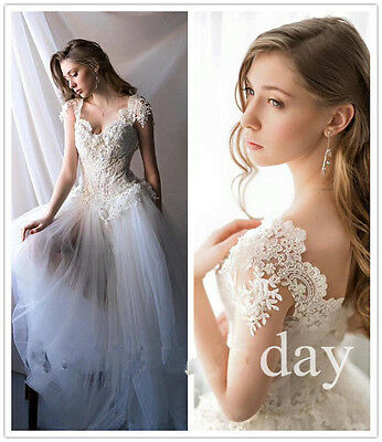 Vintage Boho Lace Bridal Gown Modest Tulle Unique Beach Wedding Dress Custom NEW