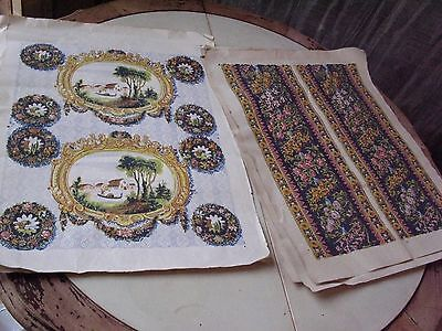 Hand Painted Italian Victorian Wallpaper. Five Sheets