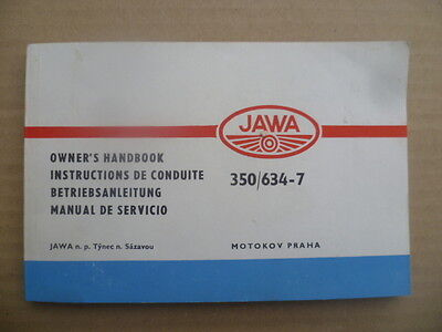 "Manuel moto JAWA 350cc type 634-7 ""Instructions de conduite"" de 1985   4 langues"