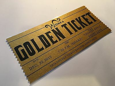 Personalised Charlie and the Chocolate Factory Willy Wonka Golden Ticket Prop