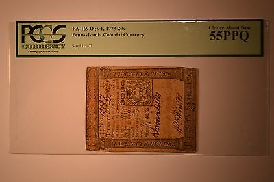 Pennsylvania October 1, 1773 20s PCGS Choice About New 55PPQ.