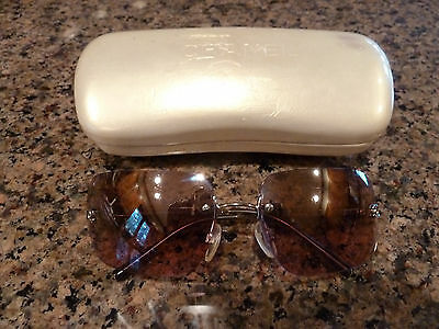 Vintage Authentic Chanel Sunglasses Silver Frame Rimless Pink Lenses W/case