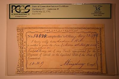 State of Connecticut Interest Certificate PCGS Apparent Very Fine 35, CC.