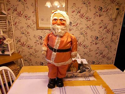 Early 1900S Wonderful Large Size Cloth Mask Santa Claus From Germany Blue Eyes