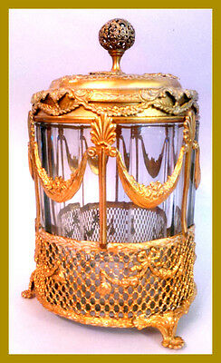 Antique French Empire Style 19c Cigar Humidor Gilded Cagework Ormolu w glass jar