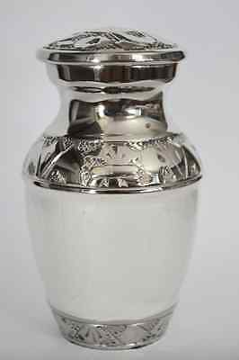 """NEW - 3"""" Small Urn for Ashes - Stunning White with Silver Collar"""