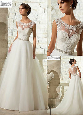 New White/Ivory Mermaid Wedding Dress Bridal Gown Stock Size 4 6 8 10 12 14 16