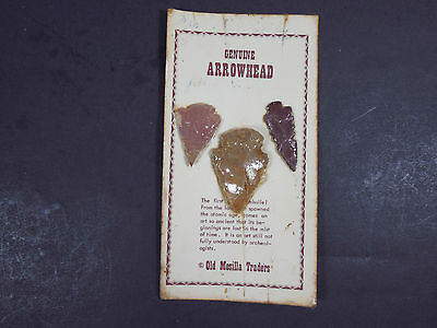 Vintage Genuine Arrowheads Old Mesilla Traders New Mexico Native American Weapon