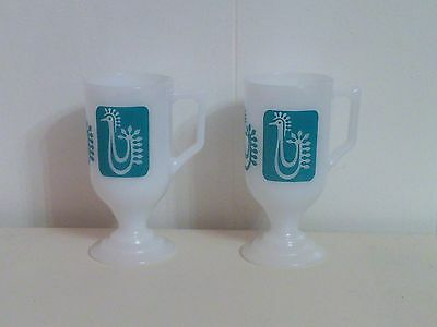 Pedestal Mugs Turqoise Rooster and Milk Glass