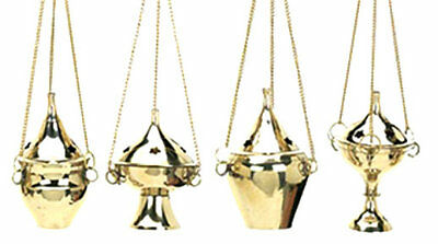 LOT OF 4 Assorted Hanging Brass Censer Incense Charcoal Cone Resin Burner (FOUR)