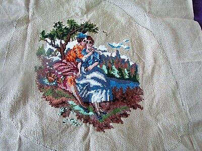 New Unused Cotton Completed Needlepoint Vintage Cushion Chair Courting Couple