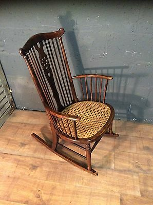 edwardian antique cane seat rocking chair
