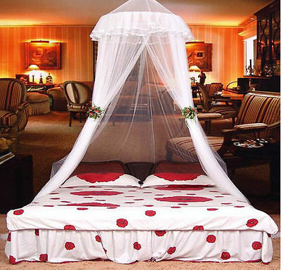 Lace Bed Mosquito Netting Mesh Canopy Princess Round Dome Bedding Net White abus