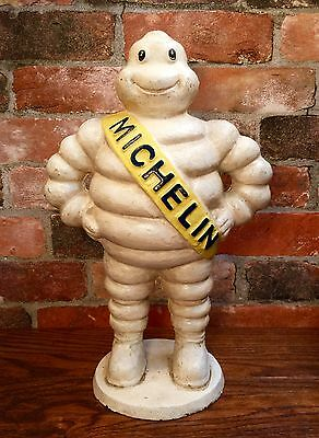 "Michelin Man Bibendum Detroit Reg. 1918 Vintage Cast Iron 15"" Tall Statue"