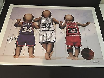 Shaquille O'Neal and Charles Barkley Signed Baby Kenneth Gatewood Lithograph