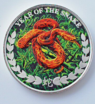 2013 Somaliland Lunar Year Of The Snake Colourized 1oz .999 Silver Coin