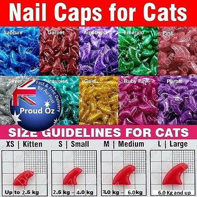 -Glitter 20 Piece Soft Designer Cat Nail Caps with Glue for Claws -Au seller