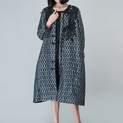 Outline Vintage Fashion Women Crew Neck Lace Loose Patchwork Black Quilted Coat