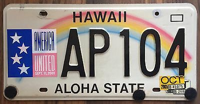 Hawaii 911 Remembrance Rainbow Aloha State Authentic License Plate #AP104 bk