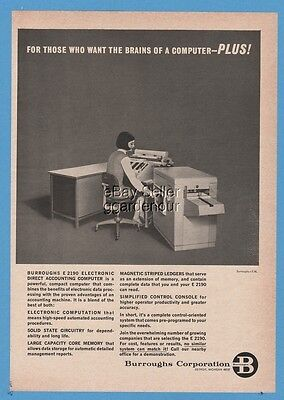 1965 Burroughs E 2190 Electronic Accounting Computer Vintage Office Photo Ad