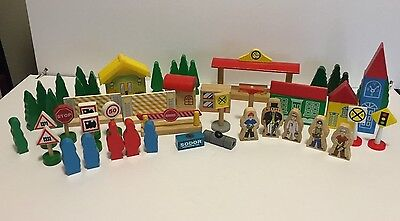 Lot of 53 Wooden Toy Train Trees People Buildings – Assorted Brands incl.Thomas