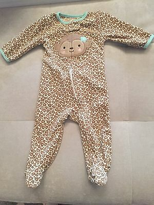 Baby Girl Warm PJ With Zipper 6-9 Month Brown With Monkey