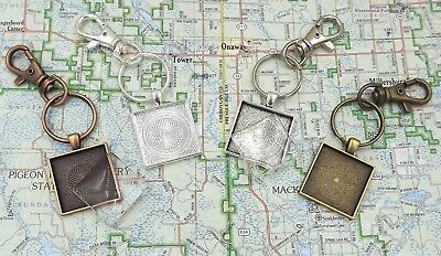 1 inch square pendant trays key chains with glass domes in your choice of color